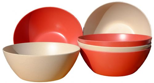Eco-Friendly White & Red Bamboo Fiber Round Bowls 400ml X6